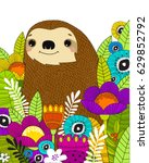 vector poster with sloths in... | Shutterstock .eps vector #629852792