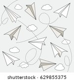 paper plane in hand drawn style ... | Shutterstock .eps vector #629855375