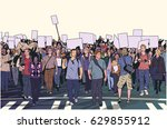 illustration of peaceful crowd... | Shutterstock .eps vector #629855912