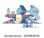sports and fitness. dumbbells... | Shutterstock .eps vector #629883956