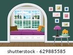 sofa by the window with a view...   Shutterstock .eps vector #629885585