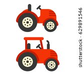 cute red tractor illustration... | Shutterstock .eps vector #629891546