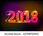 glowing neon figures 2018...   Shutterstock .eps vector #629893442