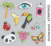 set of fun trendy vintage... | Shutterstock .eps vector #629895902