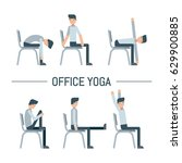 vector office chair yoga pose... | Shutterstock .eps vector #629900885