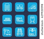 freight icon. set of 9 outline... | Shutterstock .eps vector #629920598