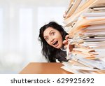 woman and stack documents. | Shutterstock . vector #629925692