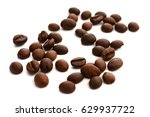 coffee beans on white isolated... | Shutterstock . vector #629937722