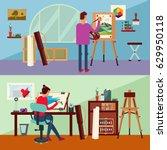 art studio horizontal banners... | Shutterstock .eps vector #629950118