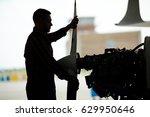 dark silhouette of aircraft... | Shutterstock . vector #629950646