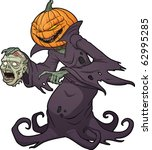 scary halloween pumpkin monster ... | Shutterstock .eps vector #62995285
