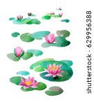Set Of Watercolor Lotuses On A...
