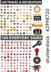 200 travel   everyday signs.... | Shutterstock .eps vector #62998720