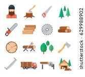 vector lumberjack icons set in... | Shutterstock .eps vector #629988902