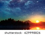 landscape under the milky way.... | Shutterstock . vector #629998826