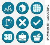 set of 9 box filled icons such... | Shutterstock .eps vector #630005042