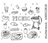 hand drawn doodle picnic icons... | Shutterstock .eps vector #630012818