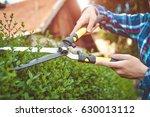 hands with garden shears... | Shutterstock . vector #630013112
