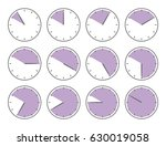 violet clock  fifty minutes or... | Shutterstock .eps vector #630019058