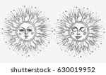 hand drawn sun with face and...   Shutterstock .eps vector #630019952