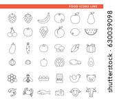 three sets of icons  fruits ... | Shutterstock .eps vector #630039098