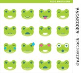 Set Of Frog Emoticons With...