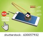 online order sushi menu | Shutterstock .eps vector #630057932