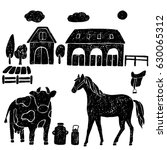 farm hand drawn animals.vector... | Shutterstock .eps vector #630065312