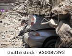 cars under the rubble for an... | Shutterstock . vector #630087392