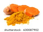 turmeric roots  turmeric powder ... | Shutterstock . vector #630087902