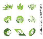 flat leaves icons. vector... | Shutterstock .eps vector #630193856