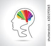 thinking brain a creative idea... | Shutterstock .eps vector #630195065