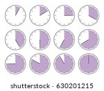violet clock  sixty minutes or... | Shutterstock .eps vector #630201215