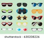 fashion set sunglasses...   Shutterstock .eps vector #630208226
