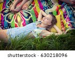 woman relaxing at campsite on a