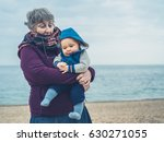 a grandmother is on the beach... | Shutterstock . vector #630271055