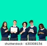 group of diverse students using ... | Shutterstock . vector #630308156