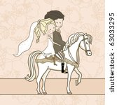 Wedding Couple On White Horse
