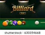 billiard table front view balls ...   Shutterstock .eps vector #630354668