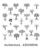 set black trees with leafs.... | Shutterstock .eps vector #630358046