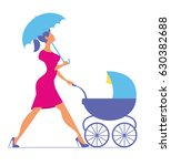 nanny. woman walking with a...   Shutterstock .eps vector #630382688