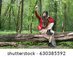girl in red leather jacket... | Shutterstock . vector #630385592