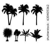 vector set of tropical palm and ... | Shutterstock .eps vector #630405362