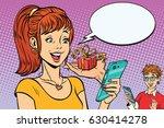 teenagers boy and girl online...   Shutterstock .eps vector #630414278