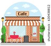cafe building facade with... | Shutterstock .eps vector #630438812