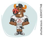 bull football player holding... | Shutterstock .eps vector #630457748