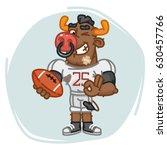 bull football player holds ball ... | Shutterstock .eps vector #630457766