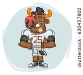 bull football player shows... | Shutterstock .eps vector #630457802