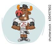 bull football player shows... | Shutterstock .eps vector #630457802