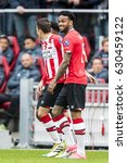 Small photo of NETHERLANDS, EINDHOVEN - April 23th 2017: PSV vs Ajax in the Dutch Eredivisie football , Jurgen Locadia happy with his goal